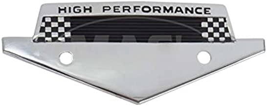 MACs Auto Parts 41-38171 Custom Fender Emblem - High Performance - Chrome With A Black Painted Checkered Flag Effect - Fits Behind The 289 Or 302