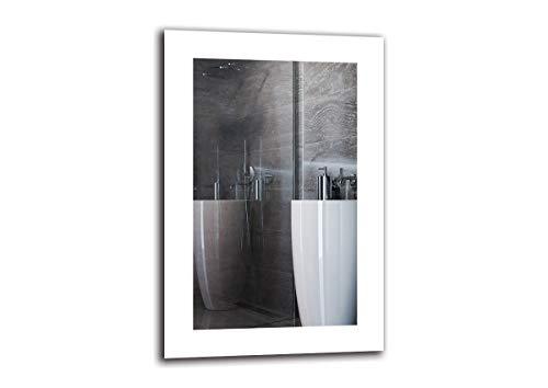 LED Spiegel Premium - Spiegelmaßen 40x60 cm - Badspiegel mit LED Beleuchtung - Wandspiegel - Lichtspiegel - Fertig zum Aufhängen - ARTTOR M1ZP-50-40x60 - Lichtfarbe Weiß kalt 6500K - ARTTOR