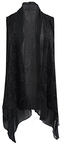 Women's Plus-Size Sleeveless Cardigan Open Front Chiffon Casual Cover Up Top Black 2X G170.40L-1