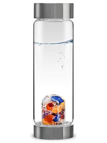 VitaJuwel ViA AYURVEDA - Wasserflasche mit Milchopal, Amethyst, Bergkristall, Lapislazuli, Granat, Karneol, Orangencalcit
