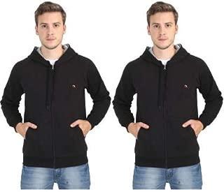 Quco Men's Cotton Fleece Hood Sweat Shirt Combo Pack of 2- (Black)