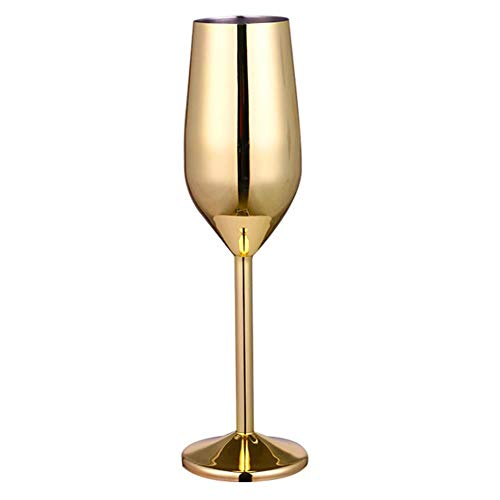 WSYW Verre à vin rouge en acier inoxydable, verre à champagne incassable, verre à cocktail, verre à vin blanc, accessoire de bar, jus, boisson, champagne, doré 220 ml