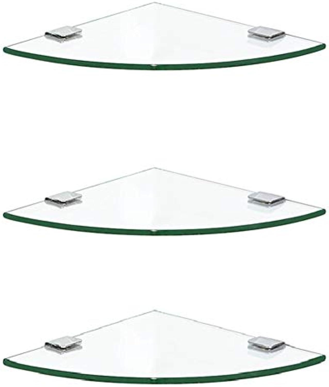 ZHANWEI Badezimmer Ablagen Duschkorb Badregal An Der Wand Montiert Dreieck Gehrtetes Glas Ecke Schlagen, 4 Gren (Farbe   3 Tiers, gre   20x20cm)