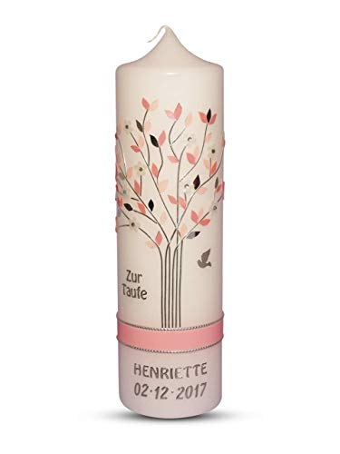 Taufkerze Kommunionkerze Lebensbaum Rosa Mädchen mit Name und Datum 25x7cm Taufe Kerze, 100% Handmade jede einzelne Motiv wird in Handarbeit angefertigt