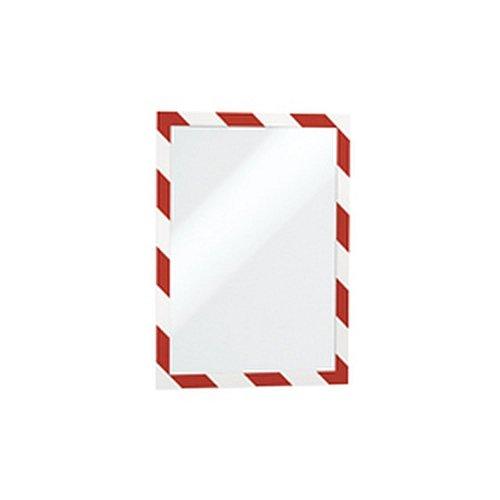 DURAFRAME Magnetic Security A4, rot/weiß, magnetischer Inforahmen mit magnetischer Vordertasche Sichttafelsystem/DURABLE 1 VE = 5 Stk
