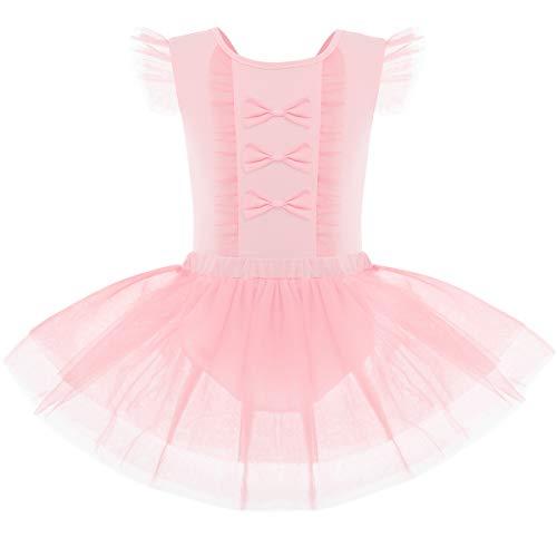 OBEEII Vestido de Ballet Maillot de Danza de Gimnasia Leotardo Tutu Sin Manga Body Clásico para Niñas Rosa 5-6 Años