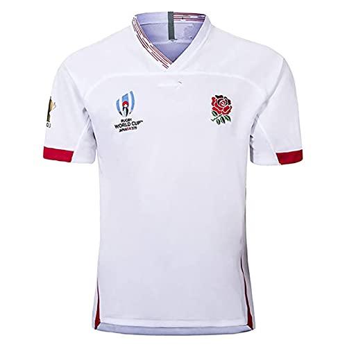 TR-yisheng Camiseta Deportiva de Verano de fútbol Local de Inglaterra de la Copa del Mundo 2019 Camiseta Deportiva Unisex para Exteriores Camiseta de Polo de Entrenamiento de Manga Corta Blanca