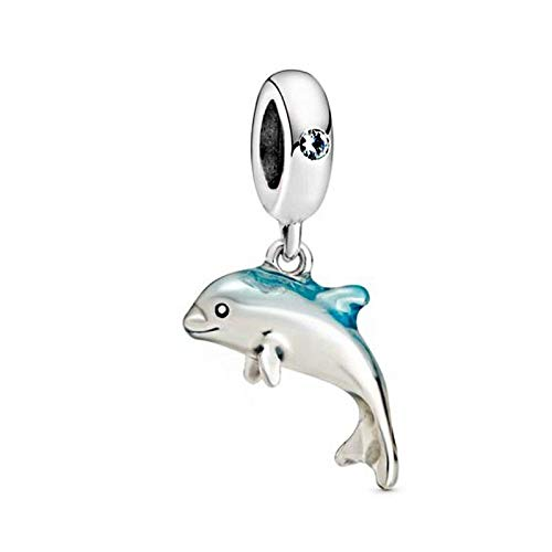 Nuevo Verano 925, Abalorios Colgantes de Delfines Brillantes, se Ajustan a Pulseras Originales de Pandora, joyería DIY para Mujer