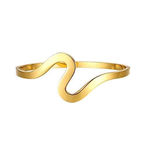 JewelryWe Schmuck Damen Armreif Einfache Glänzende Wellen Charm Edelstahl Manschette Armband Armspange mit Gravur für Frauen Mädchen Gold