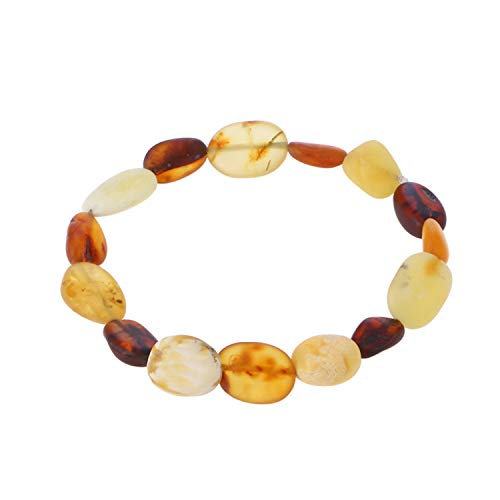 Sunwd Luxury Armband Armkette Freundschaftsarmbänder, Natural RAW Amber Bracelet for Women Men Baltic Amber Jewelry Adult Gifts Elastic String Pulseras Natural Bead Bijoux raw Cognac 22cm