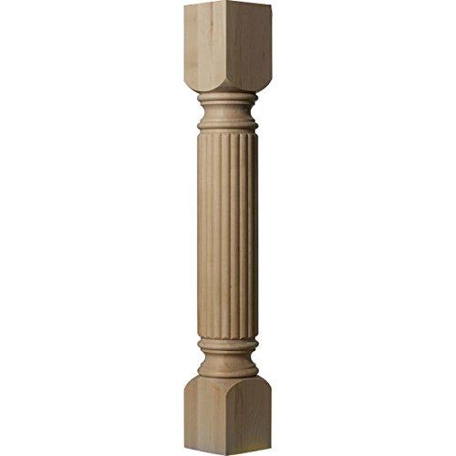 Ekena Millwork COL05X05X35RAAL 5-Inch W x 5-Inch D x 35 1/2-Inch H Raymond Reeded Cabinet Column, Alder