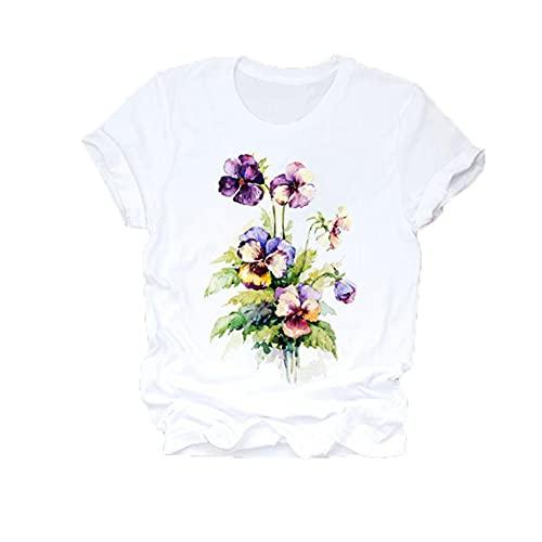 Mujeres Flor Dama Moda Ropa De Manga Corta Camisa De Verano Camisetas Top T Camiseta GráFica para Mujer