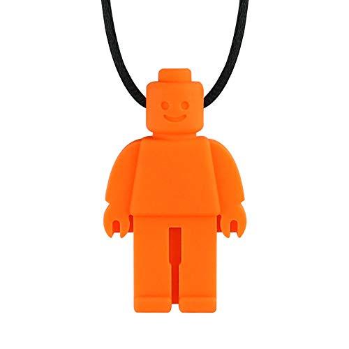 Collares masticables para niños sensoriales hechos de silicona de grado alimenticio para autista, ADHD, motor oral niños y niñas (naranja)
