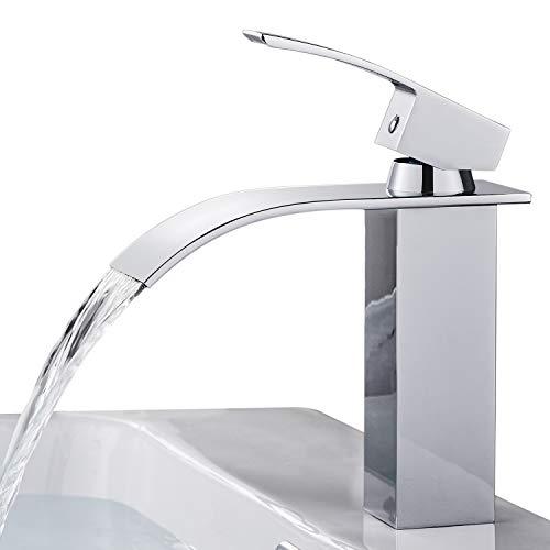 BONADE Grifo de Lavabo Cascada para Baño, Cromado Monomando Cuadrado Cuenca Mezclador con Válvula De Cerámica, Agua Fria y Caliente Disponible