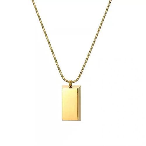 Collar, simple y de moda, pequeño collar de ladrillo dorado, cadena de clavícula de viento frío de marea europea y americana para mujer