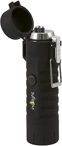 inolight CL 8 Wasserdichter USB Lichtbogenanzünder mit LED Taschenlampe (USB, Akku, Aufladbar, flammloses Feuerzeug, LED) schwarz