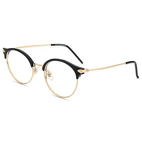 Firmoo Gafas de Lectura con Luz Azul 2.0x para Mujeres y Hombres, Gafas para Computadora, Gafas Redondas sin Deslumbramiento, Resistentes a los Arañazos, Ancho de Marco 133mm, Negro-oro