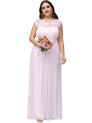 Ever-Pretty Womens Plus Size Chiffon Ruched Wedding Dresses for Birde White US 14