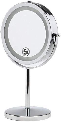 LYMUP Mirror Modern And Stylish Double-sided High-definition Beauty Makeup Mirror With LED Lighting, X1 / X5 Magnifying Glass Makeup mirror enlarge