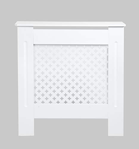 Radiator Cover Cabinet MDF Traditional Cross Grill Design for Living/Bed room-White-Small