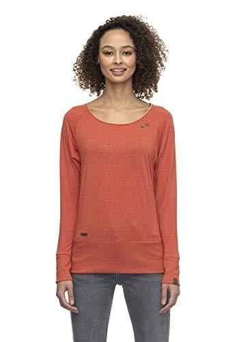 Ragwear Bernice Damen,Streetwear,Longsleeve,Sweatshirt,Shirt,vegan,Rundhalsausschnitt,breiter Bund,Terracotta,S