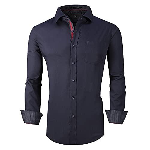 Joey CV Mens Dress Shirts Wrinkle Free Bamboo Fiber Long Sleeve Casual Button Down Shirt(Navy,XXL)