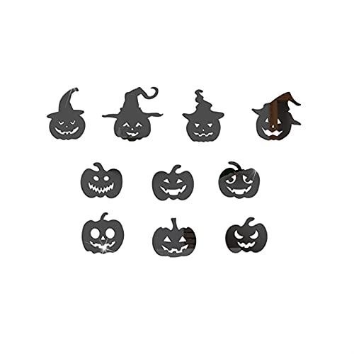 WWWL Pegatina de Pared Halloween 3D, Calabaza de Halloween Espejo acrílico Pegatinas de Pared Bricolaje Autoadhesivo Etiqueta de la Pared Sala de Estar Bar Haunted House Halloween Decoración
