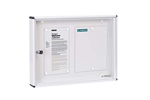 Arregui PAN41 Panel de Anuncios de aluminio y metacrilato para 2 hojas DIN A4, blanco
