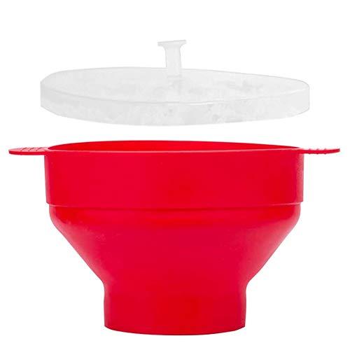 Palomitero para Microondas Microondas Palomitas De Maíz Plegable De Silicona Palomitas Manija Alta Temperatura De La Resistencia Bowl por Microondas Palomitas De Maíz Rojo