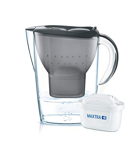 BRITA Wasserfilter Marella graphitgrau inkl. 1 MAXTRA+ Filterkartusche – BRITA Filter zur Reduzierung von Kalk, Chlor & geschmacksstörenden Stoffen im Wasser