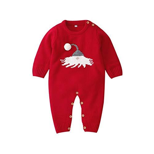 Carolilly - Pagliaccetto unisex per bambini, a maniche lunghe e soffice palla di neve invernale Colore: rosso 3-6 Mesi