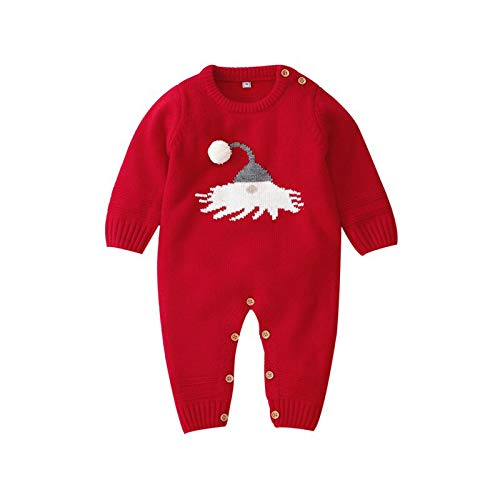 Carolilly - Pelele unisex para beb, diseo de Navidad, manga larga y bola de nieve rojo 3-6 Meses