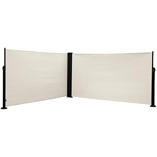 Abba Patio Retractable Double Folding Awning Screen Fence, Sun Shade and Wind Screen Privacy Divider for Garden, Outdoor, Patio, and Terrace, 20' L x 5' H, Beige