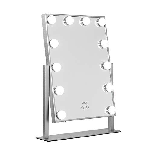 Melur Hollywood - Espejo de maquillaje con luz LED para tocador de maquillaje, espejo cosmético profesional iluminado con 12 bombillas regulables, incluye fuente de alimentación