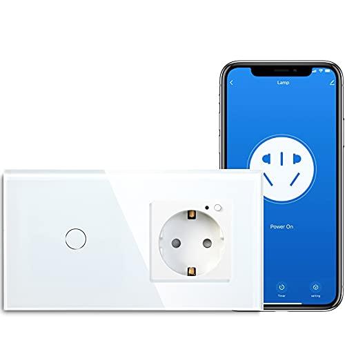 BSEED Smart Alexa Lichtschalter,WIFI Lichtschalter mit Steckdose Kompatibel mit Alexa,Google Home, Glas Touchscreen-schalter,Smart Lichtschalter 1 Fach 1 Weg Weiß(Neutrale Leitung benötigt)