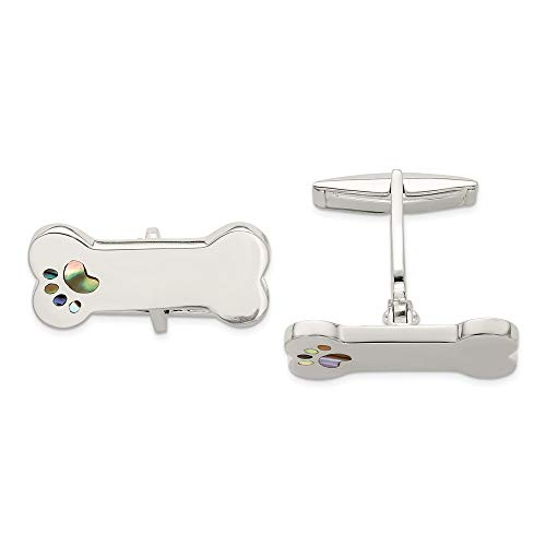 Beautiful Sterling silver 925 sterling Sterling Silver Dog Bone Abalone Shell Paw Print Cufflinks