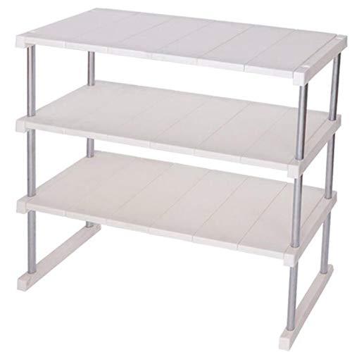 KIWG Plank,Stapelbare Keuken Rack, Dubbele Gelaagde Schaal Rek voor Huishoudelijke Laag, Tafelafvoer Opslag Rek