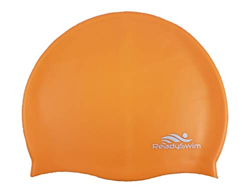 ReadySwim Swimming Cap – Adult Men Women Boys & Girls, Comfortable Silicon Water Resistant & Durable 6 Vibrant Colors (Orange)