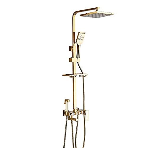 Sistema de ducha tipo lluvia de 9 pulgadas Juego de grifos de ducha dorados Juego combinado de ducha montada en la pared Mezclador de lluvia de latón con ducha de mano de 3 modos, cabezal de ducha, g