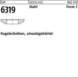 DIN 6319 Stahl C 6,4 einsatzgehärtet VE=S Kugelscheiben 50 Stück