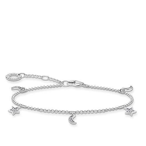 THOMAS SABO Star & Moon Bracelet 925 Sterling Silver 19 cm silver