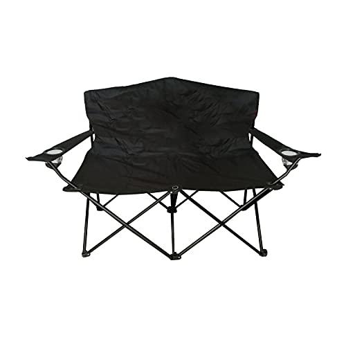 Campingbank mit Rückenlehne Campingstuhl Faltstuhl Polyester 600D Schwarz Klappstuhl Anglerstuhl Metall Anglerbank