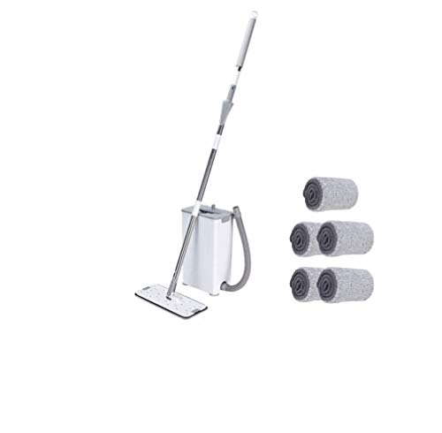 Flat Floor Mop and Bucket for Floor Cleaning,Hands Free Mop Bucket with Wringer Set,5 Washable & Reusable Microfiber Mop Pads,360 Degree Rotation Stainless Steel Handle