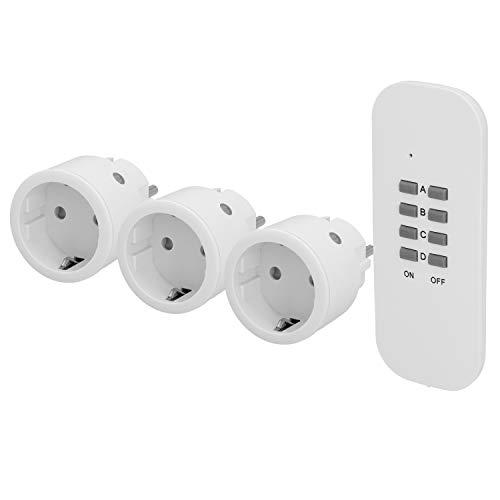 UNITEC Funkfernschalterset, Funksteckdosen, 3 Steckdosen + 1 Fernbedienung, weiß, mini