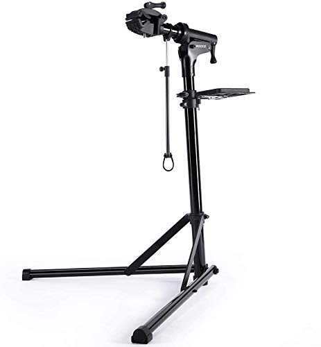 CXWXC Soporte de Reparación de Bicicletas, Soporte de Reparación de Bicicletas de Aluminio con Bandeja Magnética, Ajustable, Ligero, Portátil, para Mantenimiento de Bicicletas Champán (Negro)