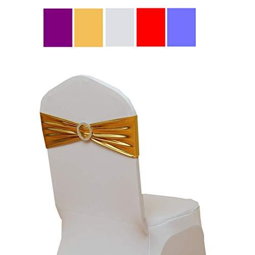 Fvstar 30pcs Gold Spandex Chair Sashes Metallic Chair Tie Sash Chair Bows for Wedding Baby Shower Party Decor