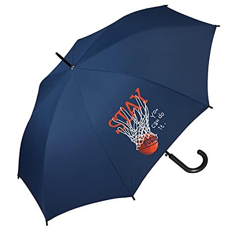 Paraguas juvenil automático estampado Deporte Baloncesto tamaño cadete color azul marino