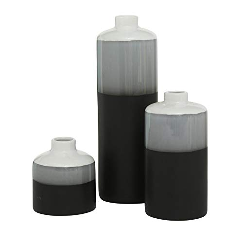 CasaJame Juego de 3 jarrones decorativos de porcelana, 10-29 cm de alto, 9 cm de diámetro, color blanco, gris y negro