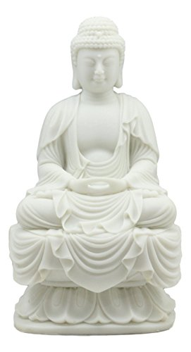 Ebros Eastern Enlightenment Meditating Buddha Amitabha Statue 7.25'Tall For Home Altar Zen Decoration Housewarming Decor