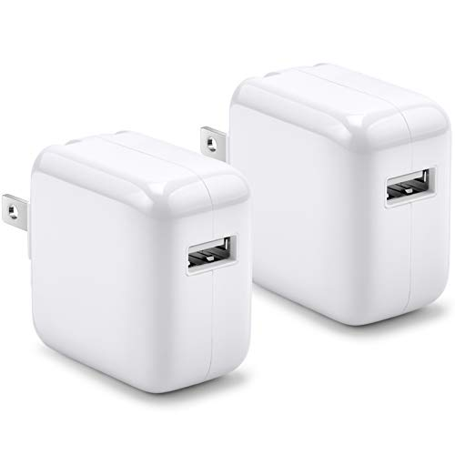 12W USB Power Adapter, 2.4A 12W USB Charger Compatible with iPhone iPad, 2 Pack 12W USB Wall Charger with Foldable Portable Travel Plug
